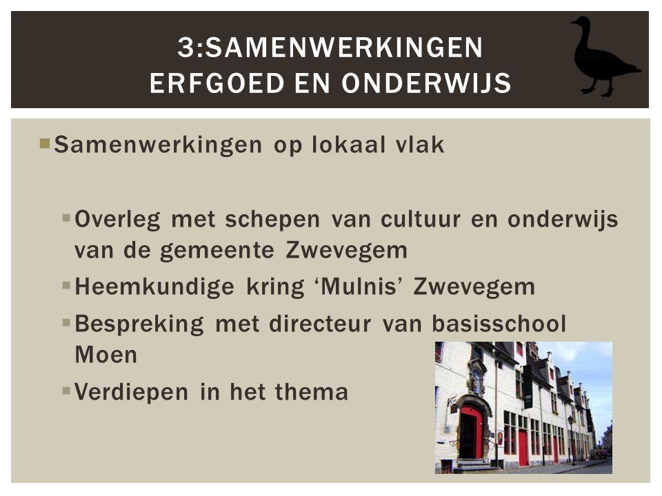  Samenwerkingen op lokaal vlak  Overleg met schepen van cultuur en onderwijs van de gemeente Zwevegem  Heemkundige kring 'Mulnis' Zwevegem  Bespre