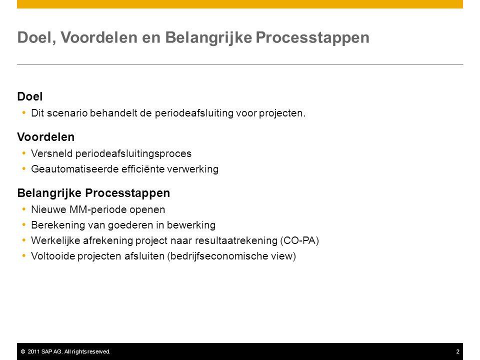 ©2011 SAP AG. All rights reserved.2 Doel, Voordelen en Belangrijke Processtappen Doel  Dit scenario behandelt de periodeafsluiting voor projecten. Vo