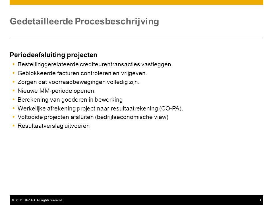 ©2011 SAP AG. All rights reserved.4 Gedetailleerde Procesbeschrijving Periodeafsluiting projecten  Bestellinggerelateerde crediteurentransacties vast