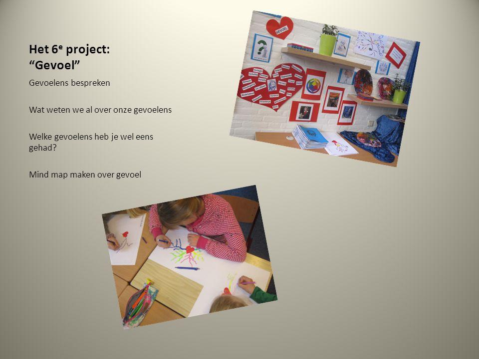 """Het 6 e project: """"Gevoel"""" Gevoelens bespreken Wat weten we al over onze gevoelens Welke gevoelens heb je wel eens gehad? Mind map maken over gevoel"""