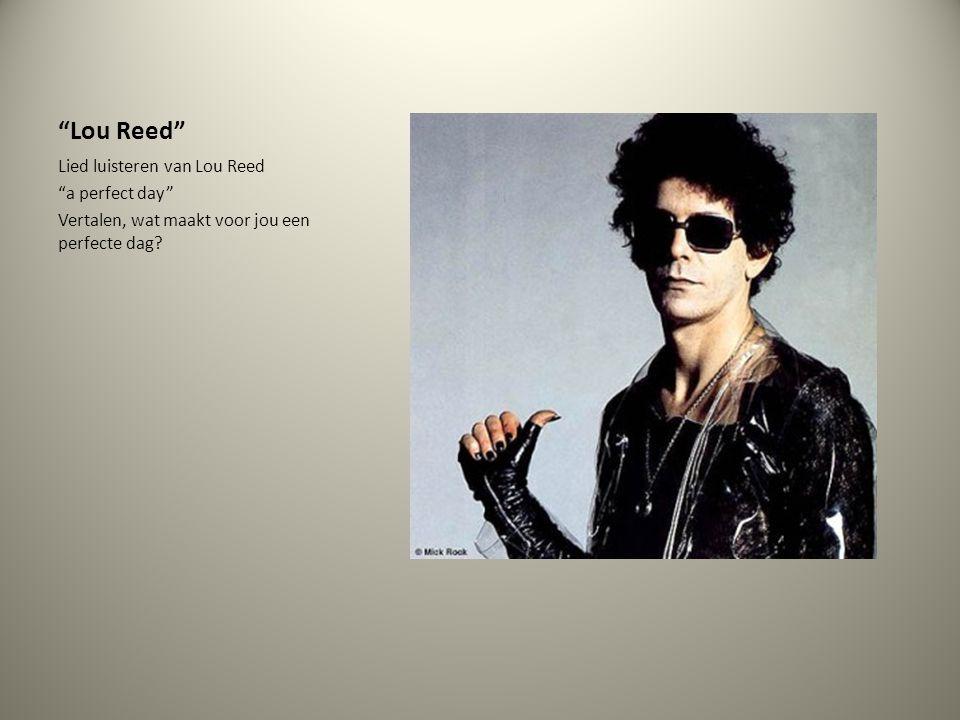"""""""Lou Reed"""" Lied luisteren van Lou Reed """"a perfect day"""" Vertalen, wat maakt voor jou een perfecte dag?"""