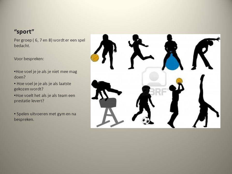 """""""sport"""" Per groep ( 6, 7 en 8) wordt er een spel bedacht. Voor bespreken: Hoe voel je je als je niet mee mag doen? Hoe voel je je als je als laatste g"""