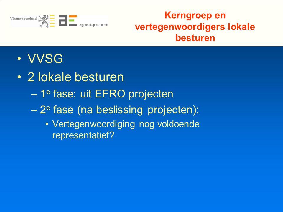 Kerngroep en vertegenwoordigers lokale besturen VVSG 2 lokale besturen –1 e fase: uit EFRO projecten –2 e fase (na beslissing projecten): Vertegenwoordiging nog voldoende representatief