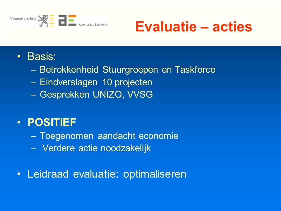 Evaluatie – acties Basis: –Betrokkenheid Stuurgroepen en Taskforce –Eindverslagen 10 projecten –Gesprekken UNIZO, VVSG POSITIEF –Toegenomen aandacht economie – Verdere actie noodzakelijk Leidraad evaluatie: optimaliseren
