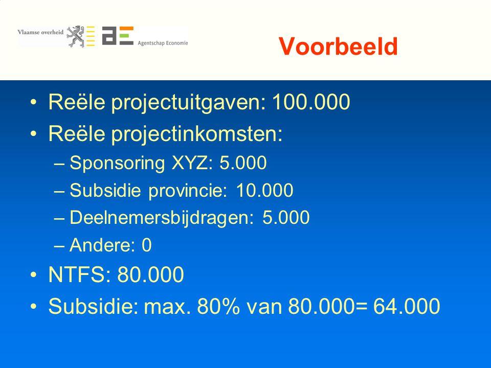 Voorbeeld Reële projectuitgaven: 100.000 Reële projectinkomsten: –Sponsoring XYZ: 5.000 –Subsidie provincie: 10.000 –Deelnemersbijdragen: 5.000 –Andere: 0 NTFS: 80.000 Subsidie: max.