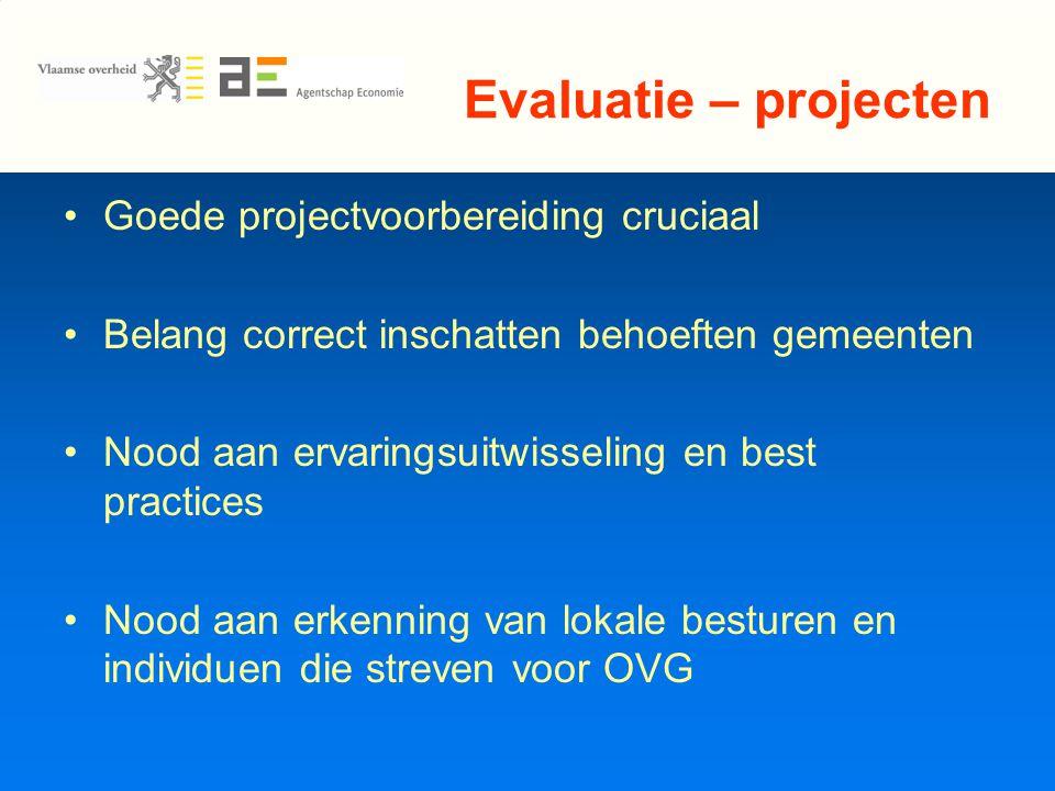 Evaluatie – projecten Goede projectvoorbereiding cruciaal Belang correct inschatten behoeften gemeenten Nood aan ervaringsuitwisseling en best practices Nood aan erkenning van lokale besturen en individuen die streven voor OVG