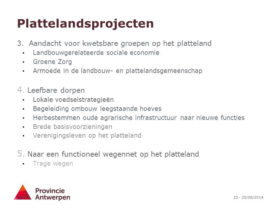 10 - 20/08/2014 Plattelandsprojecten 3. Aandacht voor kwetsbare groepen op het platteland Landbouwgerelateerde sociale economie Groene Zorg Armoede in