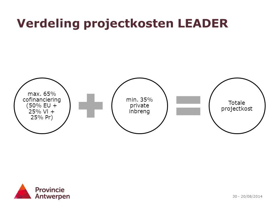 30 - 20/08/2014 Verdeling projectkosten LEADER max. 65% cofinanciering (50% EU + 25% Vl + 25% Pr) min. 35% private inbreng Totale projectkost
