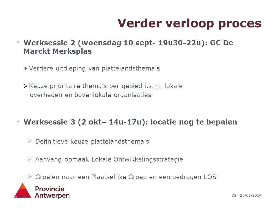 33 - 20/08/2014 Verder verloop proces Werksessie 2 (woensdag 10 sept- 19u30-22u): GC De Marckt Merksplas  Verdere uitdieping van plattelandsthema's 