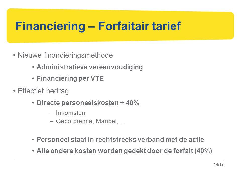 14/18 Financiering – Forfaitair tarief Nieuwe financieringsmethode Administratieve vereenvoudiging Financiering per VTE Effectief bedrag Directe personeelskosten + 40% –Inkomsten –Geco premie, Maribel,..