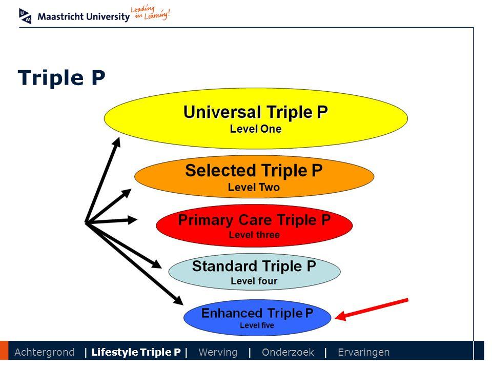 Department Triple P Achtergrond | Lifestyle Triple P | Werving | Onderzoek | Ervaringen