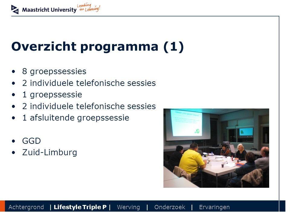 Department Overzicht programma (1) 8 groepssessies 2 individuele telefonische sessies 1 groepssessie 2 individuele telefonische sessies 1 afsluitende