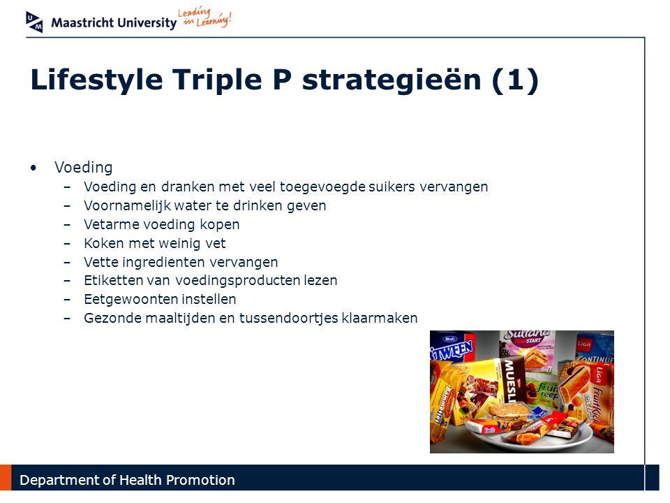 Department Lifestyle Triple P strategieën (1) Introductie | GO4fit interventie | Onderzoek Voeding –Voeding en dranken met veel toegevoegde suikers ve