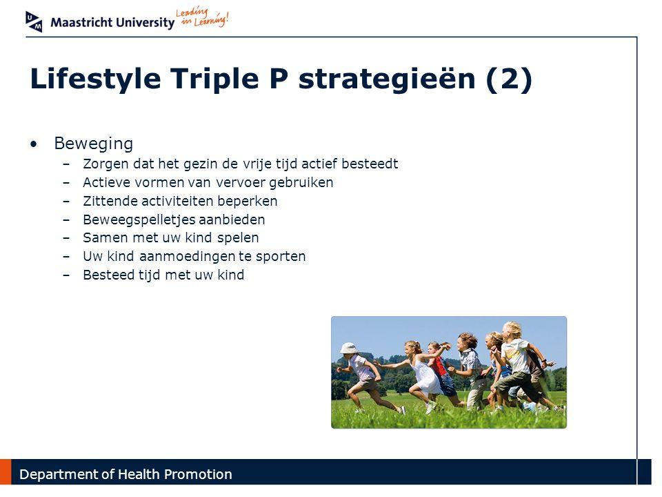 Department Lifestyle Triple P strategieën (2) Introductie | GO4fit interventie | Onderzoek Beweging –Zorgen dat het gezin de vrije tijd actief besteed
