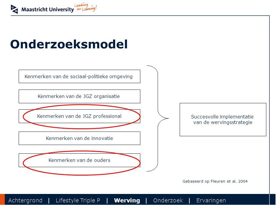 Department Onderzoeksmodel Kenmerken van de sociaal-politieke omgeving Kenmerken van de JGZ organisatie Kenmerken van de JGZ professional Kenmerken va