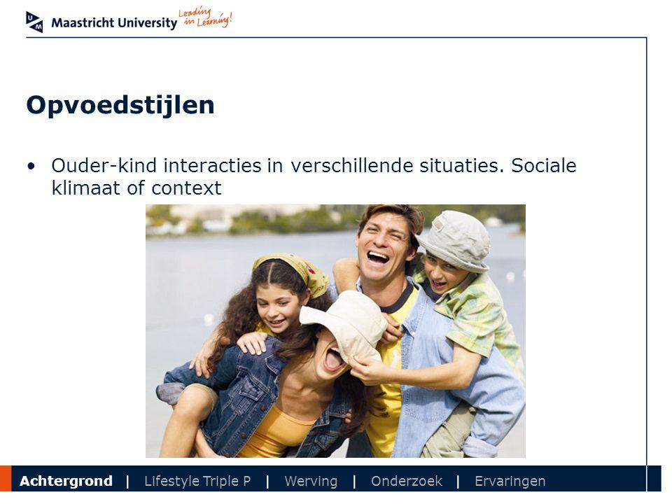 Department Opvoedstijlen Ouder-kind interacties in verschillende situaties. Sociale klimaat of context Achtergrond | Lifestyle Triple P | Werving | On