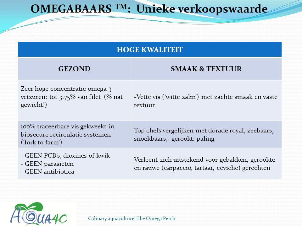 Culinary aquaculture: The Omega Perch OMEGABAARS TM : Unieke verkoopswaarde HOGE KWALITEIT GEZONDSMAAK & TEXTUUR Zeer hoge concentratie omega 3 vetzur
