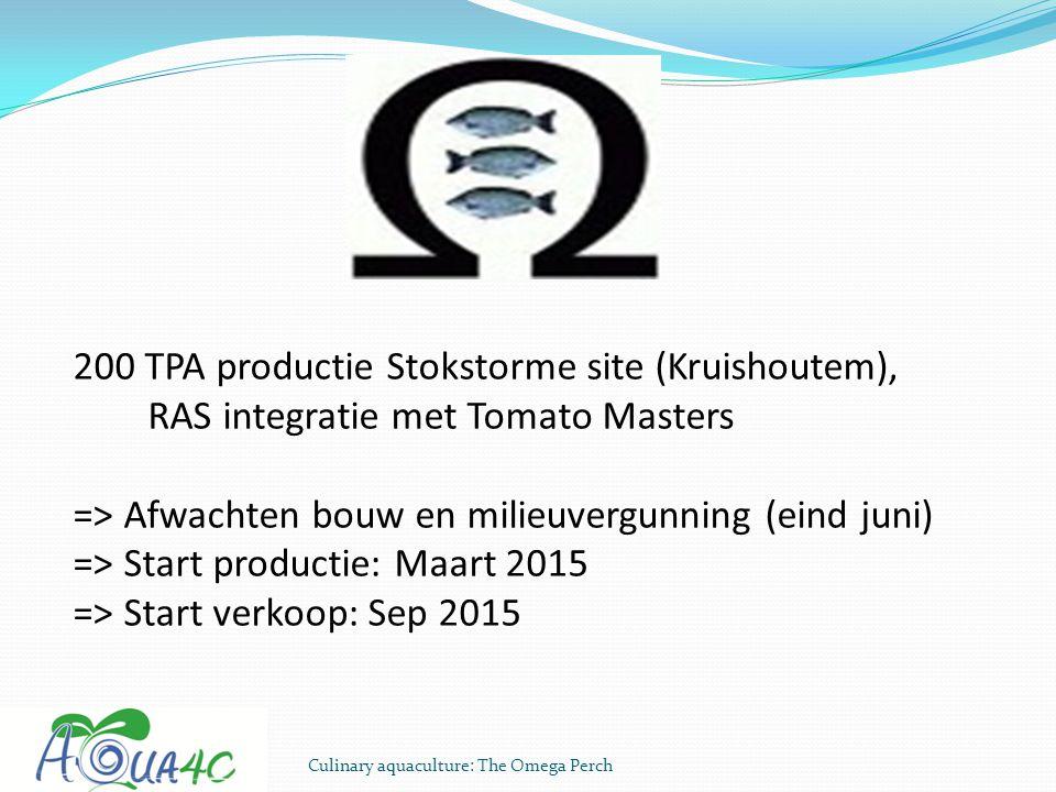 Culinary aquaculture: The Omega Perch 200 TPA productie Stokstorme site (Kruishoutem), RAS integratie met Tomato Masters => Afwachten bouw en milieuve