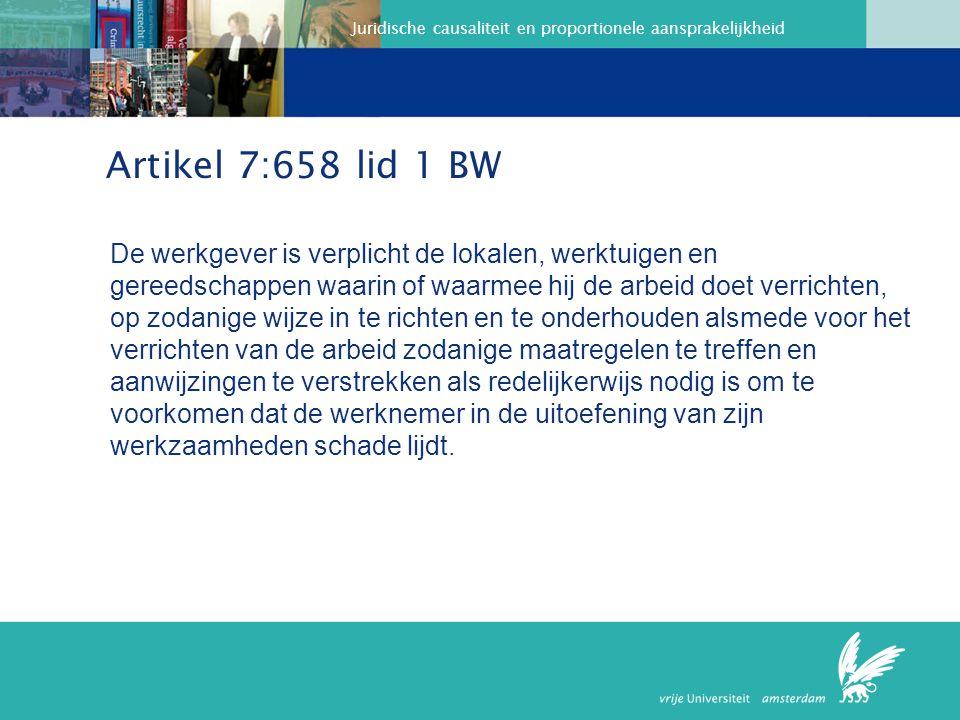 Juridische causaliteit en proportionele aansprakelijkheid Het hof verwerpt het standpunt van de werkgever dat het Besluit Beeldschermwerk voornamelijk betrekking zou hebben op oogklachten en dus niet op RSI, en ook het standpunt dat er in 1995 nog te weinig bekend zou zijn over RSI en maatregelen daarom toen nog niet genomen zouden hoeven worden.