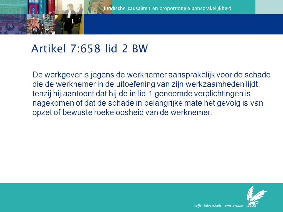 Juridische causaliteit en proportionele aansprakelijkheid Hof Amsterdam 21 april 2009 LJN J6266 Het hof concludeert dat, nu enerzijds sprake is van belastende beeldschermwerkzaamheden die op een wijze verricht werden die strijdig was met geldende wet- en regelgeving, en anderzijds van aannemelijkheid van gezondheidsklachten die daardoor kunnen zijn veroorzaakt, de werknemer aan zijn bewijslast ten aanzien van het causaal verband tussen werk en schade heeft voldaan en het aan de werkgever is om te bewijzen dat de gezondheidsklachten zijn terug te voeren op omstandigheden die niet werkgerelateerd zijn.