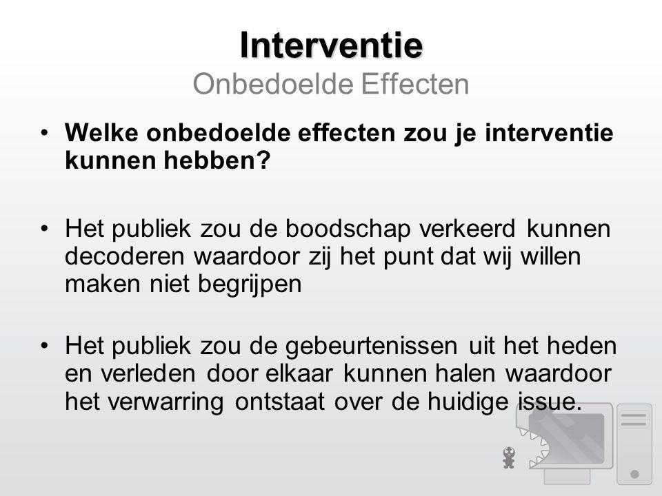 Interventie Interventie Onbedoelde Effecten Welke onbedoelde effecten zou je interventie kunnen hebben.
