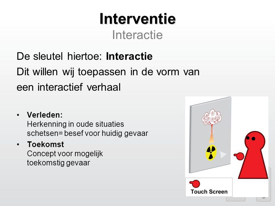 Interventie Interventie Interactie De sleutel hiertoe: Interactie Dit willen wij toepassen in de vorm van een interactief verhaal Verleden: Herkenning in oude situaties schetsen= besef voor huidig gevaar Toekomst Concept voor mogelijk toekomstig gevaar