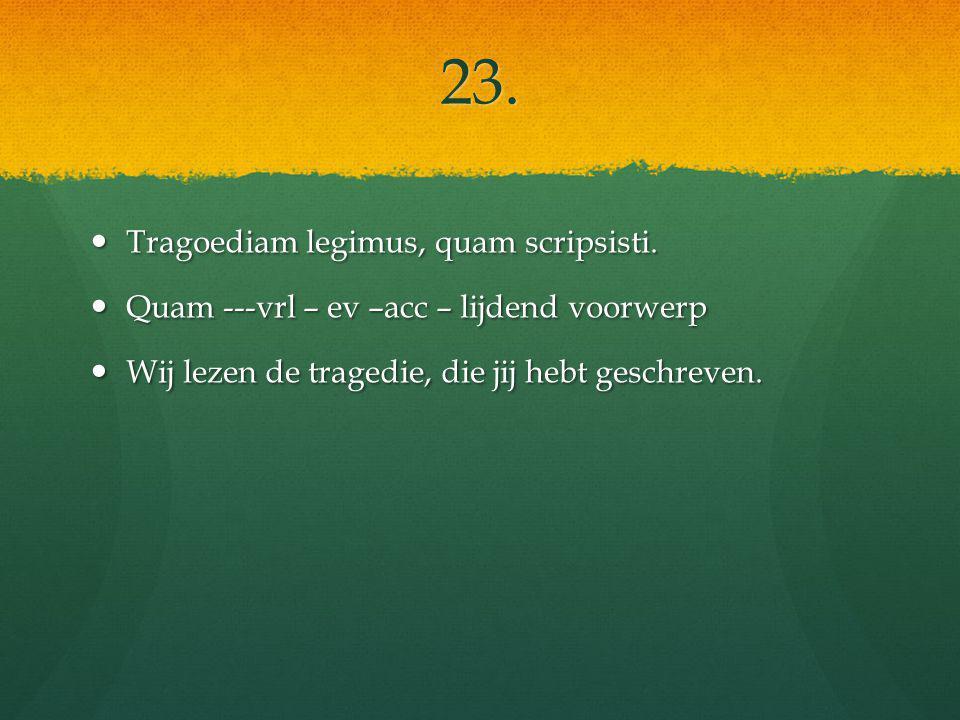 23. Tragoediam legimus, quam scripsisti. Tragoediam legimus, quam scripsisti.