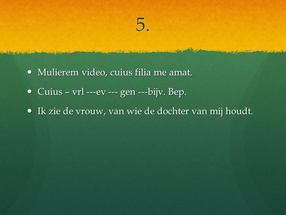 5. Mulierem video, cuius filia me amat. Mulierem video, cuius filia me amat.