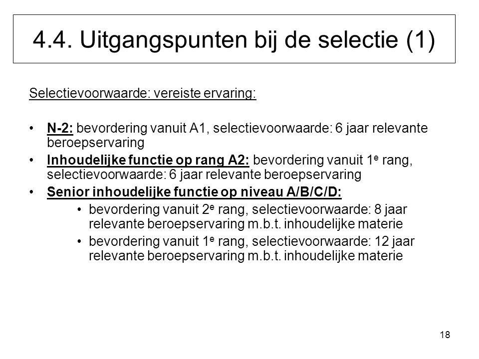 18 Selectievoorwaarde: vereiste ervaring: N-2: bevordering vanuit A1, selectievoorwaarde: 6 jaar relevante beroepservaring Inhoudelijke functie op ran