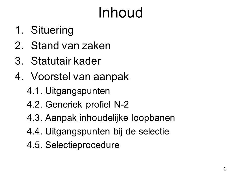 2 Inhoud 1.Situering 2.Stand van zaken 3.Statutair kader 4.Voorstel van aanpak 4.1. Uitgangspunten 4.2. Generiek profiel N-2 4.3. Aanpak inhoudelijke