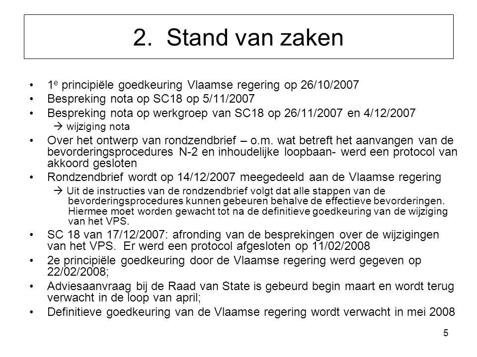 5 1 e principiële goedkeuring Vlaamse regering op 26/10/2007 Bespreking nota op SC18 op 5/11/2007 Bespreking nota op werkgroep van SC18 op 26/11/2007