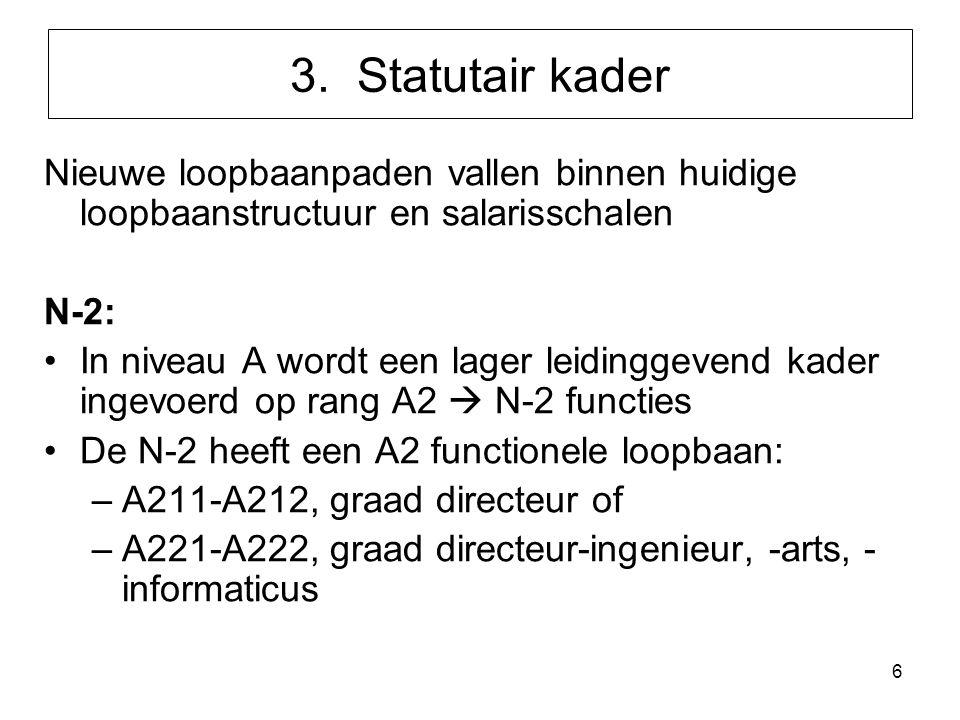 6 3. Statutair kader Nieuwe loopbaanpaden vallen binnen huidige loopbaanstructuur en salarisschalen N-2: In niveau A wordt een lager leidinggevend kad