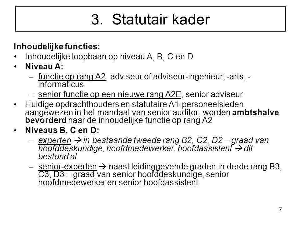 7 3. Statutair kader Inhoudelijke functies: Inhoudelijke loopbaan op niveau A, B, C en D Niveau A: –functie op rang A2, adviseur of adviseur-ingenieur
