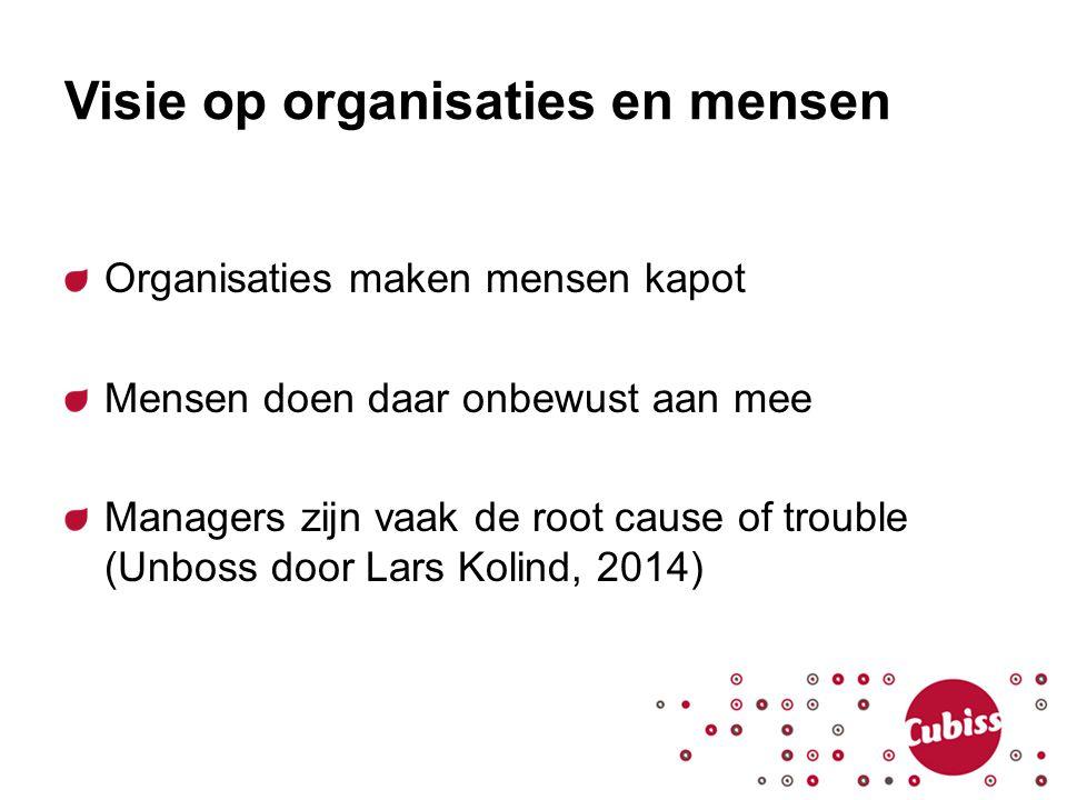 Visie op organisaties en mensen Organisaties maken mensen kapot Mensen doen daar onbewust aan mee Managers zijn vaak de root cause of trouble (Unboss
