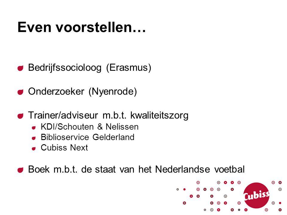 Even voorstellen… Bedrijfssocioloog (Erasmus) Onderzoeker (Nyenrode) Trainer/adviseur m.b.t. kwaliteitszorg KDI/Schouten & Nelissen Biblioservice Geld