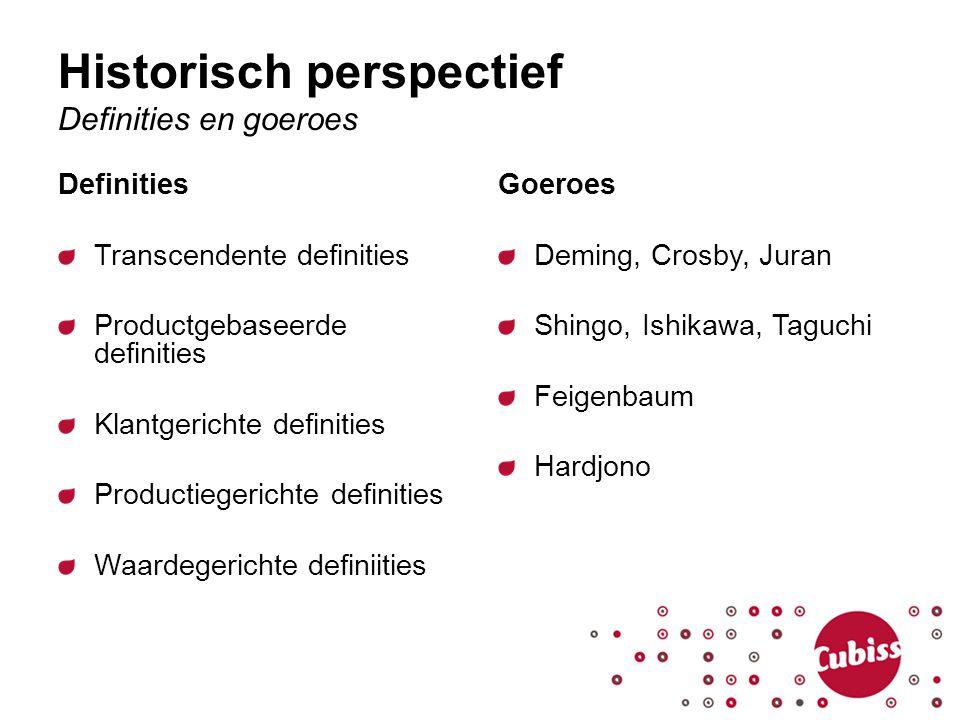 Historisch perspectief Definities en goeroes Definities Transcendente definities Productgebaseerde definities Klantgerichte definities Productiegerich