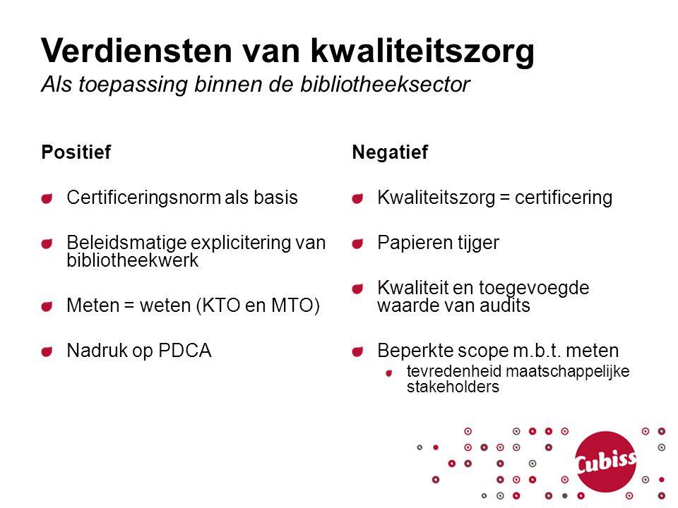 Verdiensten van kwaliteitszorg Als toepassing binnen de bibliotheeksector Positief Certificeringsnorm als basis Beleidsmatige explicitering van biblio