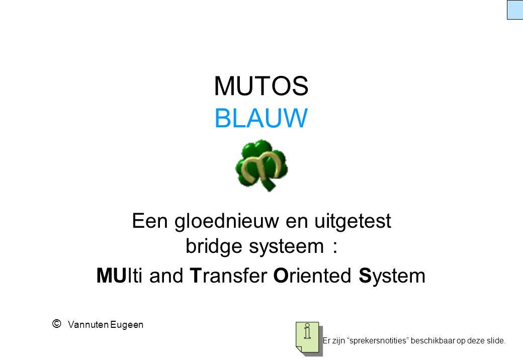 """MUTOS BLAUW Een gloednieuw en uitgetest bridge systeem : MUlti and Transfer Oriented System © Vannuten Eugeen Er zijn """"sprekersnotities"""" beschikbaar o"""