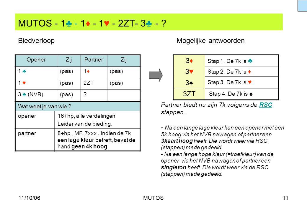 11/10/06MUTOS11 MUTOS - 1♣ - 1♦ - 1♥ - 2ZT- 3♣ - ? OpenerZijPartnerZij 1 ♣(pas)1♦1♦ 1 ♥(pas)2ZT(pas) 3 ♣ (NVB)(pas)? Stap 1. De 7k is ♣ 3♥3♥ Stap 2. D