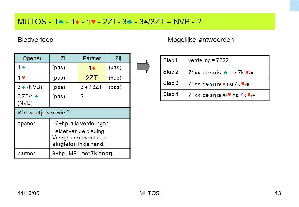11/10/06MUTOS13 MUTOS - 1♣ - 1♦ - 1♥ - 2ZT- 3♣ - 3♠/3ZT – NVB - ? Stap1 verdeling = 7222 Stap 2 71xx, de sn is ♣ na 7k ♥ /♠ Stap 3 71xx, de sn is ♦ na