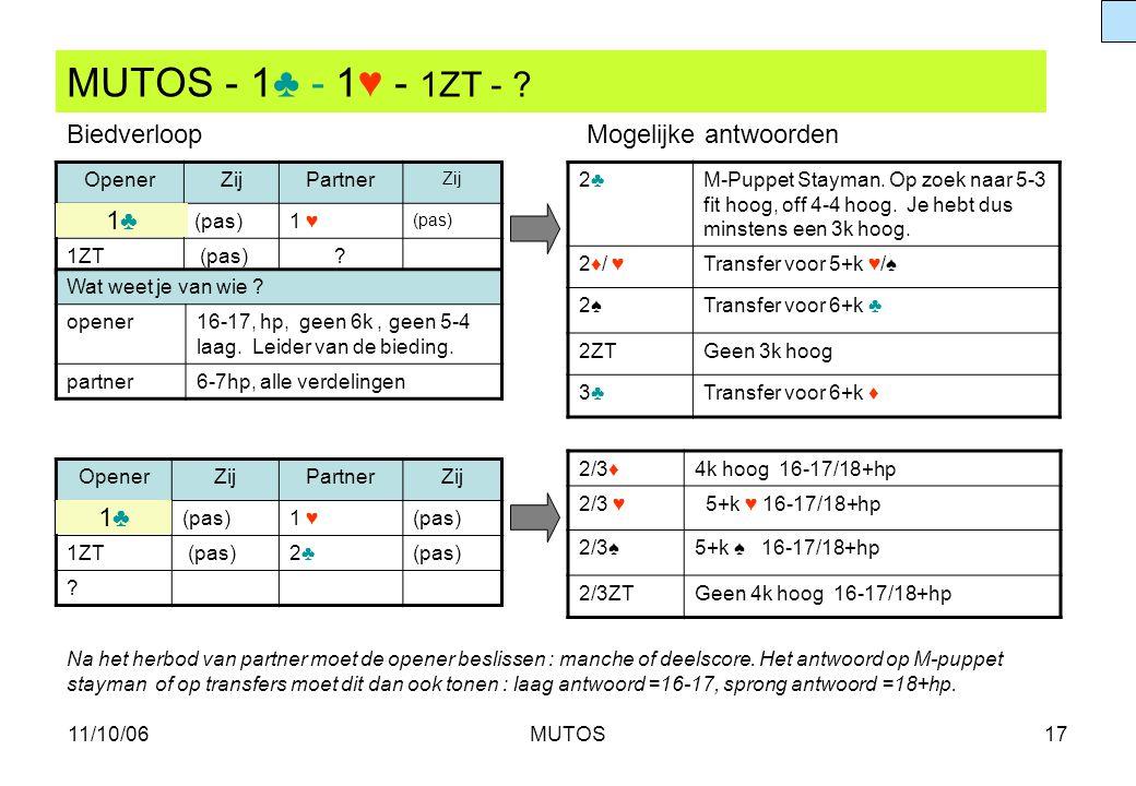 11/10/06MUTOS17 MUTOS - 1♣ - 1♥ - 1ZT - ? OpenerZijPartner Zij (pas)1 ♥ (pas) 1ZT (pas)? 2♣2♣M-Puppet Stayman. Op zoek naar 5-3 fit hoog, off 4-4 hoog