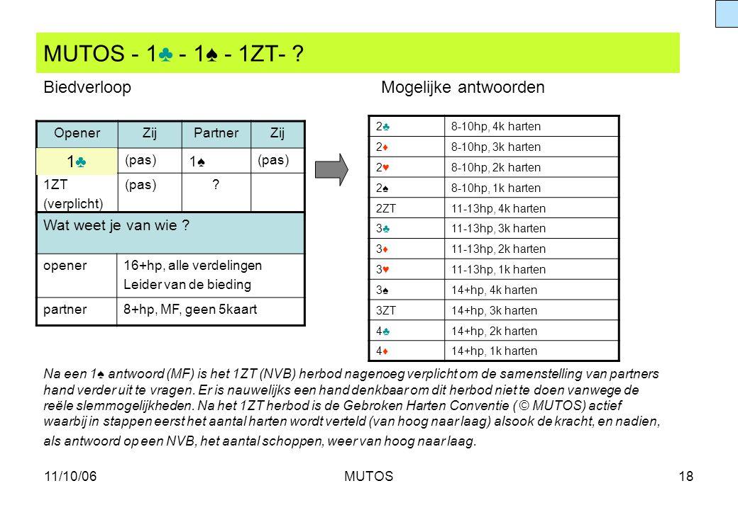 11/10/06MUTOS18 MUTOS - 1♣ - 1♠ - 1ZT- ? OpenerZijPartnerZij (pas) 1♠1♠ 1ZT (verplicht) (pas)? 2♣2♣8-10hp, 4k harten 2♦2♦8-10hp, 3k harten 2♥2♥8-10hp,