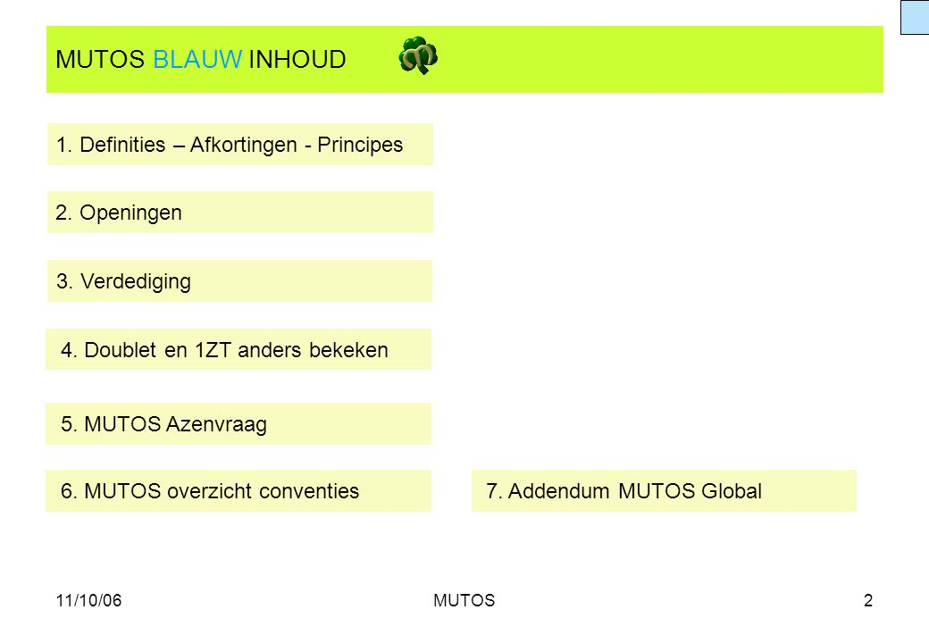 11/10/06MUTOS2 MUTOS BLAUW INHOUD 1. Definities – Afkortingen - Principes 2. Openingen 3. Verdediging 5. MUTOS Azenvraag 7. Addendum MUTOS Global 4. D