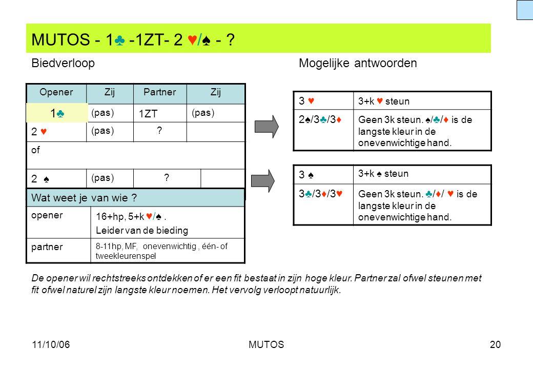 11/10/06MUTOS20 MUTOS - 1♣ -1ZT- 2 ♥/♠ - ? OpenerZijPartnerZij (pas) 1ZT (pas) 2 ♥ (pas)? of 2 ♠ (pas)? 3 ♥ 3+k ♥ steun 2♠/3♣/3♦ Geen 3k steun. ♠/ ♣/♦