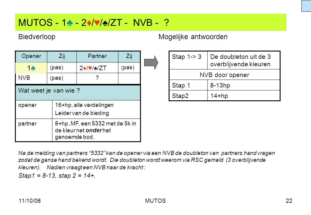 11/10/06MUTOS22 MUTOS - 1♣ - 2♦/♥/♠/ZT - NVB - ? OpenerZijPartnerZij (pas) 2♦/♥/♠/ZT (pas) NVB(pas)? Stap 1-> 3De doubleton uit de 3 overblijvende kle