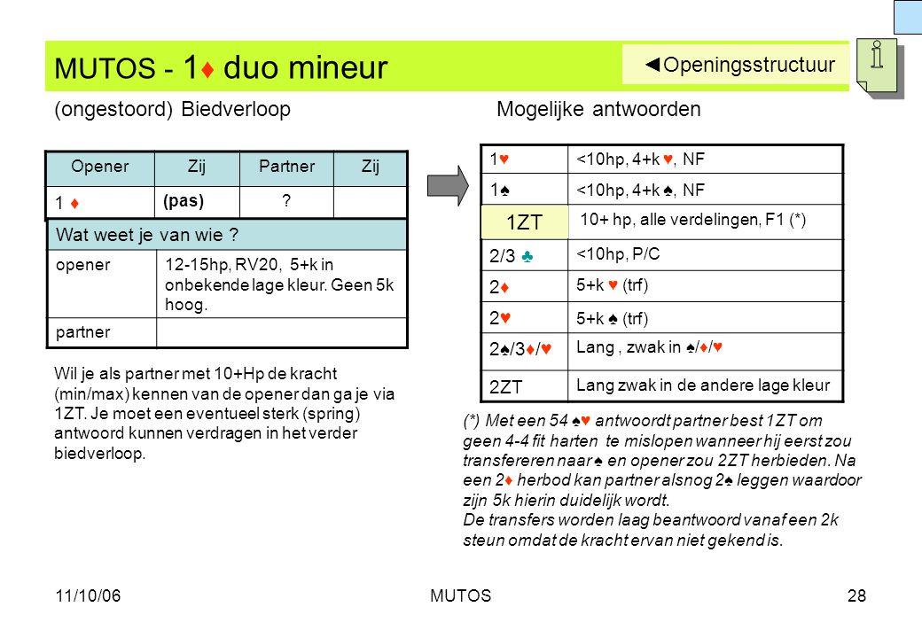 11/10/06MUTOS28 MUTOS - 1 ♦ duo mineur OpenerZijPartnerZij 1 ♦ (pas)? 1♥1♥<10hp, 4+k ♥, NF 1♠1♠ <10hp, 4+k ♠, NF 10+ hp, alle verdelingen, F1 (*) 2/3