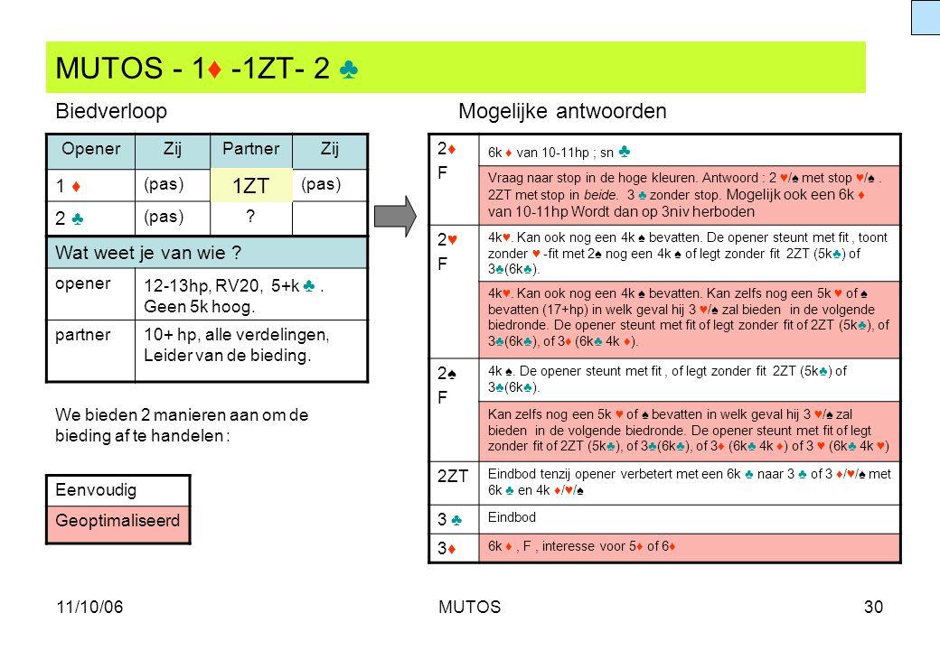 11/10/06MUTOS30 MUTOS - 1♦ -1ZT- 2 ♣ OpenerZijPartnerZij 1 ♦ (pas) 2 ♣ (pas)? Wat weet je van wie ? opener 12-13hp, RV20, 5+k ♣. Geen 5k hoog. partner