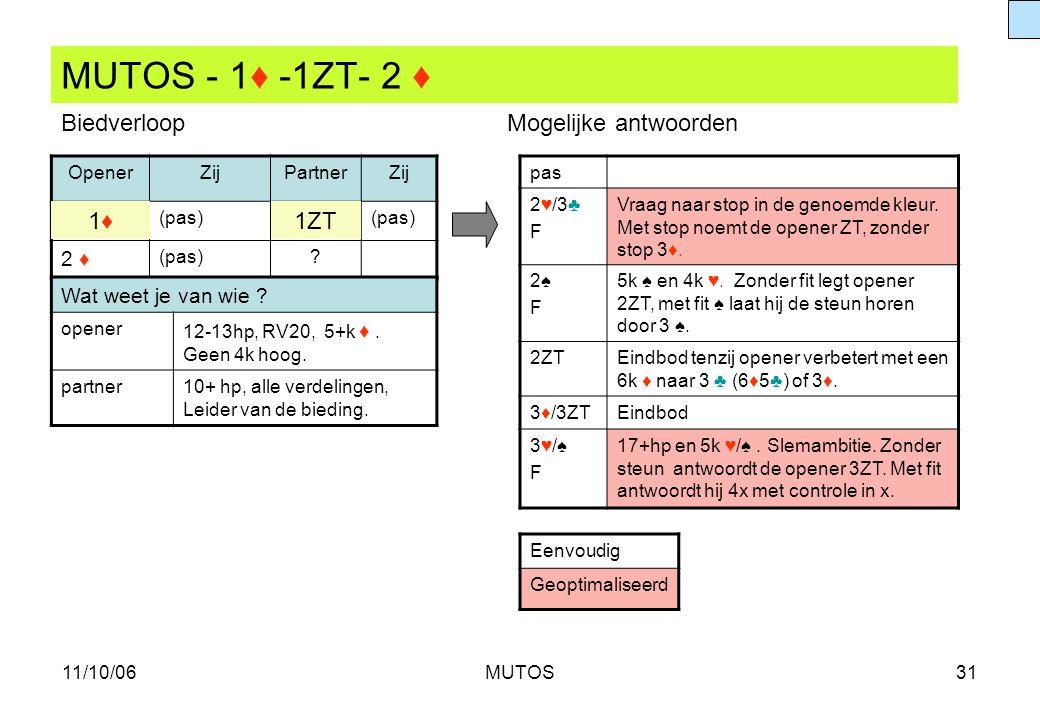 11/10/06MUTOS31 MUTOS - 1♦ -1ZT- 2 ♦ OpenerZijPartnerZij (pas) 2 ♦ (pas)? pas 2♥/3♣F2♥/3♣F Vraag naar stop in de genoemde kleur. Met stop noemt de ope