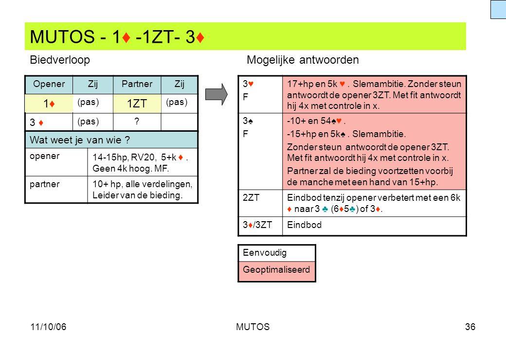 11/10/06MUTOS36 MUTOS - 1♦ -1ZT- 3♦ OpenerZijPartnerZij (pas) 3 ♦ (pas)? 3♥F3♥F 17+hp en 5k ♥. Slemambitie. Zonder steun antwoordt de opener 3ZT. Met