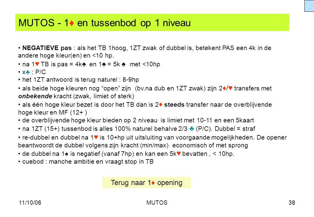11/10/06MUTOS38 MUTOS - 1♦ en tussenbod op 1 niveau NEGATIEVE pas : als het TB 1hoog, 1ZT zwak of dubbel is, betekent PAS een 4k in de andere hoge kle